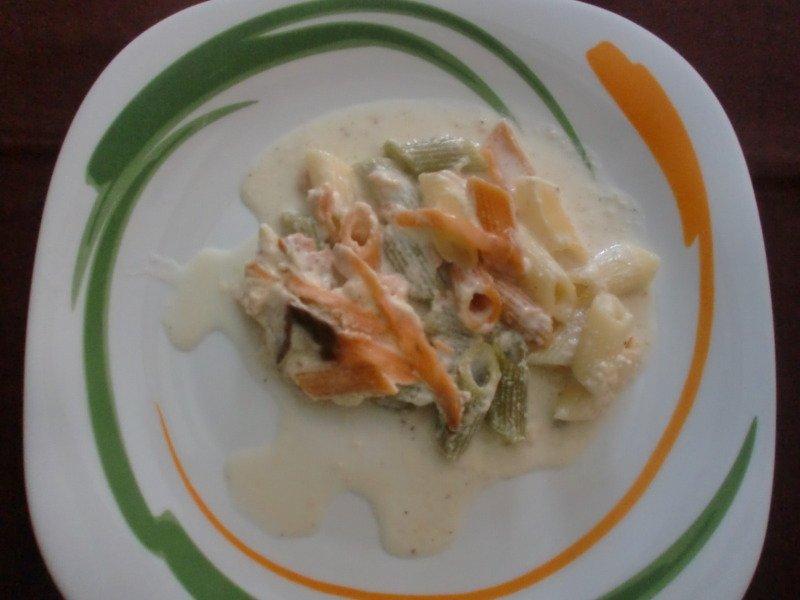 Paso 7: Macarrones con salsa de queso y salmón al horno